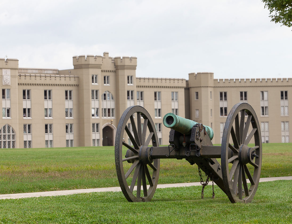 Cannon in Front of Historic Building